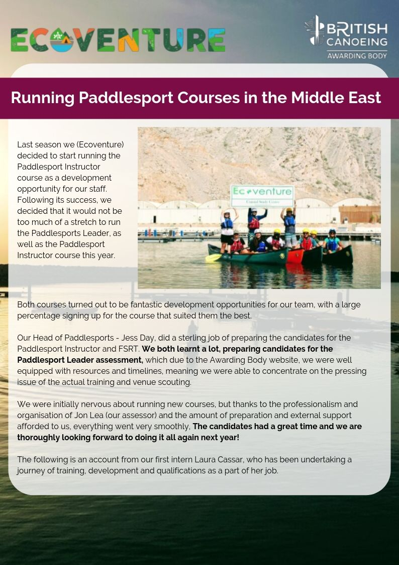 Running Paddlesport Courses In The Middle East Page 1