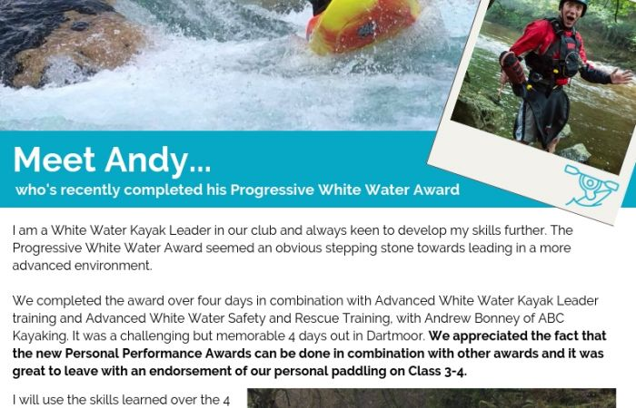 Meet Andy... who's recently completed the NEW Progressive White Water Award