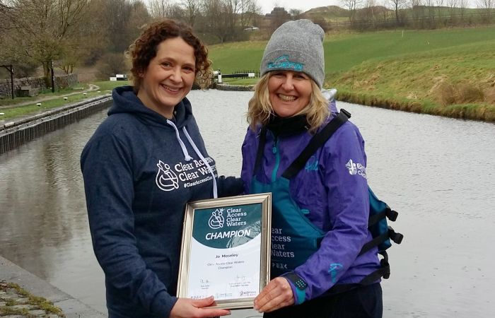 Jo Moseley awarded Clear Access, Clear Waters Community Champion Award