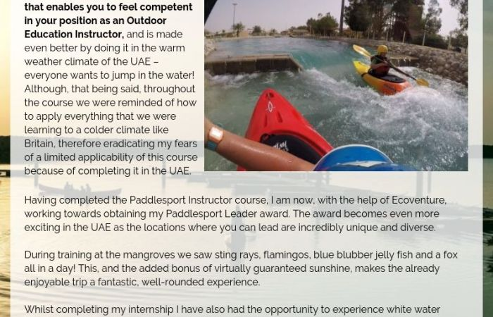 Running Paddlesport Courses in the Middle East