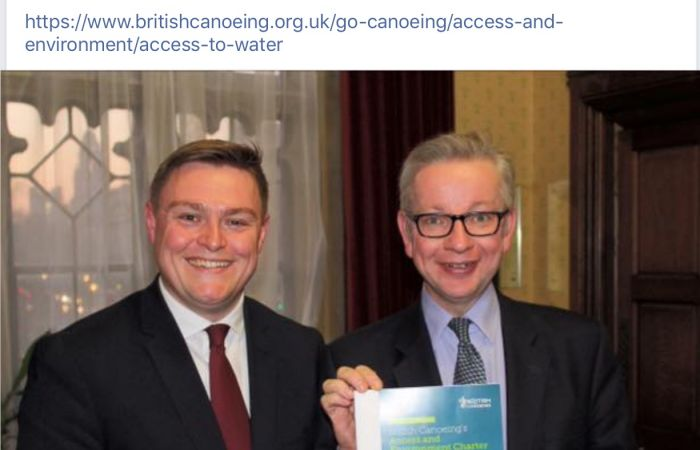 Gove given copy of Access Charter thanks to Colchester Canoe Club.